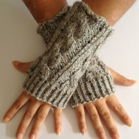 Fingerless Gloves Wrist Warmers in Grey Marble Cable Handknit
