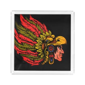 Indian Chieftain head illustration Acrylic Tray