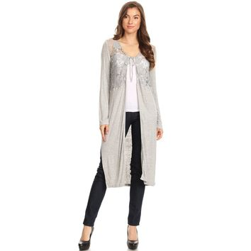 1044-Grey knit jacket with crochet lace