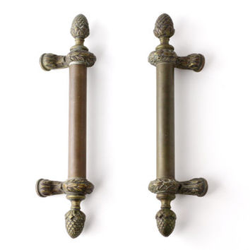 Large Pair of Antique Victorian Door Pulls - Brass Front Door Handles - Vintage French Chateau Hardware