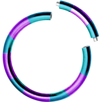 16 Gauge 3/8 Teal Purple Anodized Titanium Segment Ring | Body Candy Body Jewelry