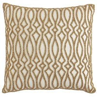 Gold Beaded Tile Pillow