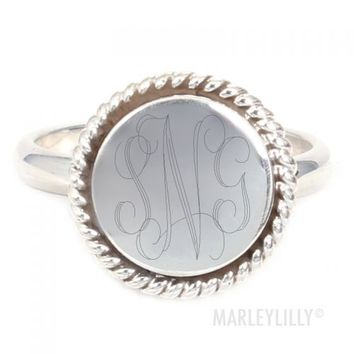 Monogrammed Sterling Silver Nala Ring   Marley Lilly