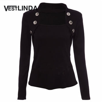 VESTLINDA Women T Shirt Tops Fall Tee Shirt Buttons Long Sleeve Ladies Shirts Knitted Femme Blusas Women Plus Size Black T-Shirt