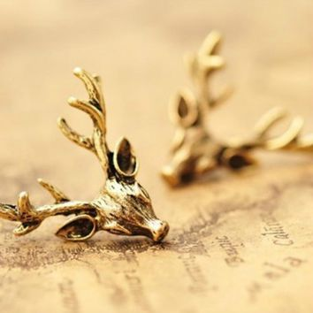 Retro Original Design Earrings Bronze Animal Deer Head Antler