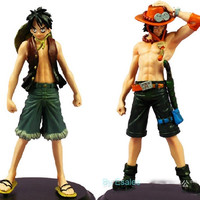 2 Pcs Anime One Piece Luffy and Ace Figures Cute PVC Toys Collection 18cm = 1958006660