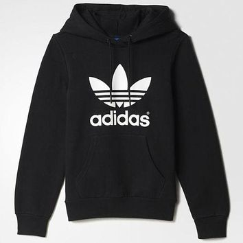 Black Adidas Hooded Top Sweater Pullover Sweatshirt for Women