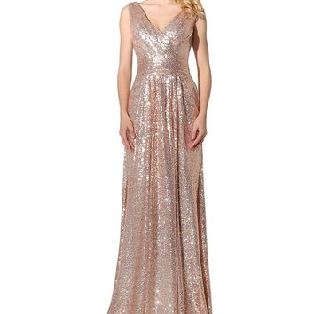 Topwedding Shipping Women's Sequined V Neck Evening Party Dress Prom Gown