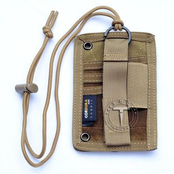Running bags TTGTACTICAL High Quality Military Enthusiasts Tactical ID Card Holder Organizer Patch Badge Holder with Neck Lanyard Black/TAN KO_3_1