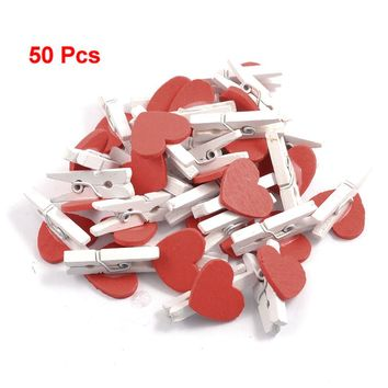 SOSW-New 50Pcs Red Heart Accent White Wooden Spring Clothespins Memo Clips