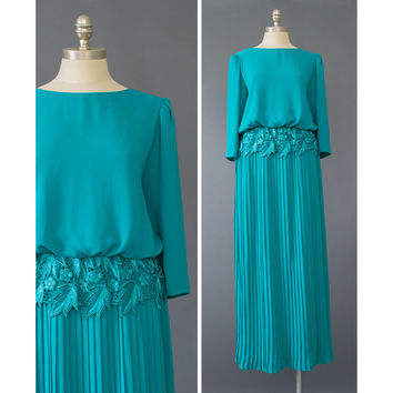 Vintage 70s Gown - Teal Chiffon & Lace Evening Dress - 1970s Long Formal Dress - Puff Sleeve Accordion Pleated Formal Maxi Dress - M/L Tall