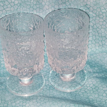 A Set of Two Textured Icicle Clear Goblets / Mid Century Clear Tree Bark Style Stem Glasses / Vintage Wine Glasses / Clear Crinkle