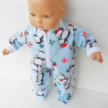 "bitty baby clothes, boy or 15"" girl twin doll, adorabledolldesigns handmade, Christmas flannel pajamas pjs footed sleeper, blue penguin"