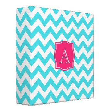 Zigzag Turquoise and Pink Custom Monogram 3 Ring Binders from Zazzle.com