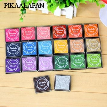 PIKAALAFAN NEW 20 Colors Colorful DIY Finger Print Ink Pad Inkpad Rubber Stamps Inkpads Ink & Pads Toys Kids Games Decoration