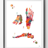 Foot Bones watercolor print foot anatomy orthopedic surgery skeletal system foot bone anatomy art poster medical art wall decor gift [157]