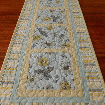 Hummingbird Table Runner   Quilted Table Runner   Blue And Yello. Yellow ...