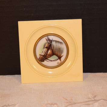 France Limoges Horse Picture Vintage Horse Mini Picture Limoges Mini Plate Horse Lovers Gift Horse Collectible Mid Century Man Cave Decor
