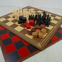 Vintage Well Worn Large Wooden Game Boards with Plastic Chess Men & Checkers Collection - Incomplete Game Pieces to Repurpose for Projects