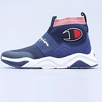 Champion Fashion Men Breathable Knit Sneakers Running Sport Socks Shoes Blue