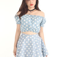 Made To Order - Polka Dot Off Shoulder Set in Pastel Blue