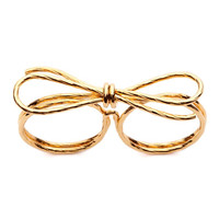 Amber Sceats   Gold Double Bow Ring