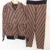 FENDI Autumn Winter Popular Women Zipper Cardigan Jacket Coat Pants Trousers Set Two-Piece