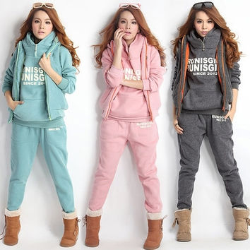 Women Autumn Stylish Hoodies Suit Thickening Sports Hoodie Hoody + Pant + Vest 3pcs  18218