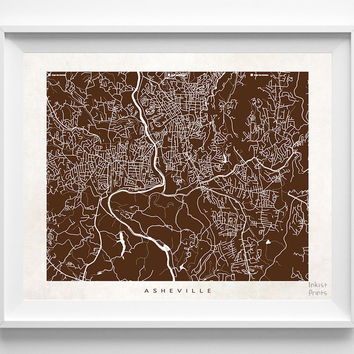 North Carolina, Asheville, Print, Map, Poster, NC, State, Dorm room, Art, Decor, Town, Illustration, Room, House, Street, Wall Art