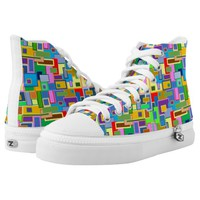 square pattern High-Top sneakers