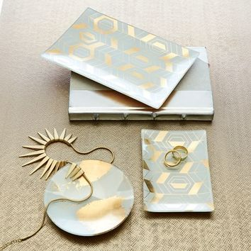 Decoupage Trays - Gold/White