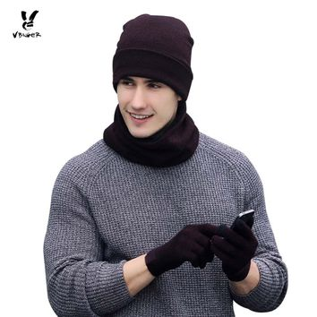 VBIGER 3pcs Women Men Winter Warm Knitted Hat Skullies Beanies Set Unisex Bonnet with Scarf Gloves Fashion Cap Shawl Mittens