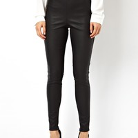 ASOS High Waisted Pants in Ponte with Leather Look Panel