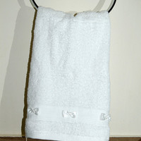 Perfect gift , a set of 2 pcs bow towels, Guest towels, egyptian cotton 100%