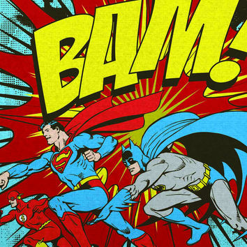 Batman, Superman, Flash Retro Bam! Poster