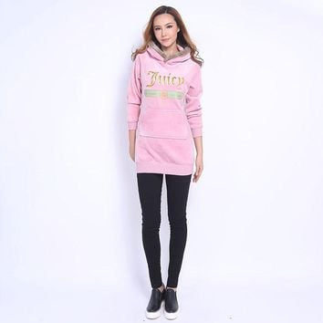Juicy Couture Fw2017 Velour Jacket 2pcs Studded Exquisite Juicy Logo Women Hoody Pink - Ready Stock