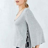 Hiatus Crystal Bell-Sleeve Top