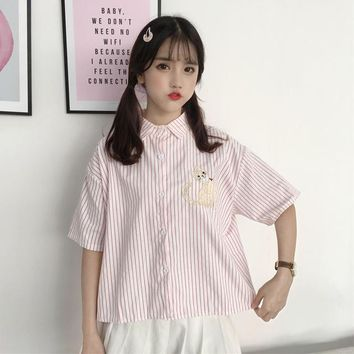 Drop Shoulder Cat Embroidered Female Shirts Japanese Kawaii Blouse New Summer Stripe Sweet Cartoon Women's Tops Ladies Clothing