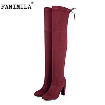 FANIMILA Women Stretch Slim Suede Over the Knee Boots Thigh High Boots Sexy Fashion High Heel Shoes Woman Black Grey Size 34-43
