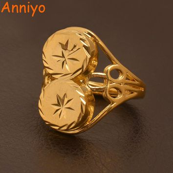 Anniyo Papua New Guinea Resizable Ring for Women/Teenag,Ethiopian Gold Color Wedding Jewelry African Ring Gifts #096506
