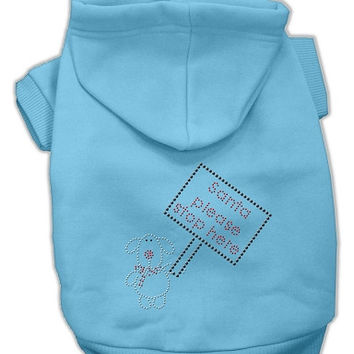 Santa Stop Here Dog Hoodie Baby Blue/Extra Large