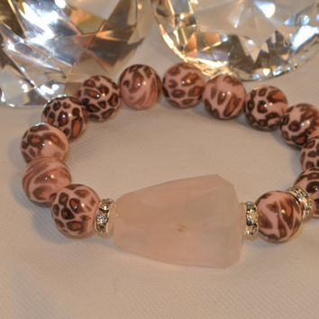 Shades of Pink Sparkling Kitty - Leopard and Rose Quartz