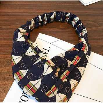 GUCCI Popular Wide Rhombic Letters Print Headband Cross Hair Band Accessories Blue(Green Red Stripe) I12189-1