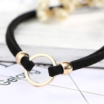 N215 Beads Circle Geometric Chokers Necklaces Double Layer Chain Collares Gothic Bijoux Fashion Jewelry