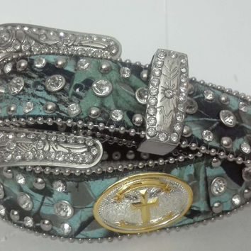 Western Genuine Leather Cowgirl Rhinestones blue canvas fabric cross golden  camo conchos shinning  Camouflage Camo New BELTS