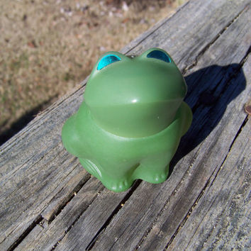 Vintage Avon Perfume Bottle--Green Glass Frog--Emerald Prince--Figural Bottle--Perfume Fragance Decanter--Seventies Kitsch--Mt Vintage Home