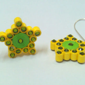 Paper Earring - Quilled earring - Green and Yellow - Geometry Collection