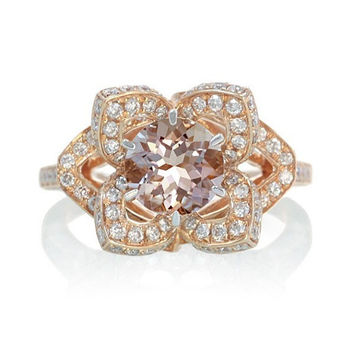 Rose Gold Morganite Lotus Flower Diamond Halo Engagement Wedding Anniversary Ring