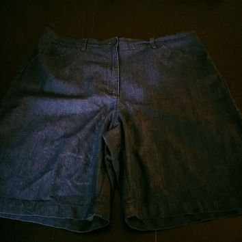 Denim Chambray Shorts Size 16 Light Weight White Stag
