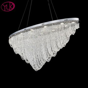 Oval Design Modern Crystal Chandelier Dining Room Hanging Light Fixture LED Lustres De Cristal Home Decor Lamp Bar Lighting